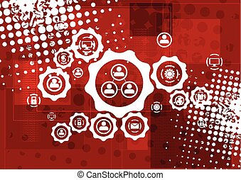 vetorial, grunge, olá-tecnologia, fundo, vermelho