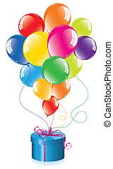 vetorial, grupo, balões coloridos, e, um, caixa presente