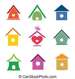 vetorial, grupo, de, pássaro, casas