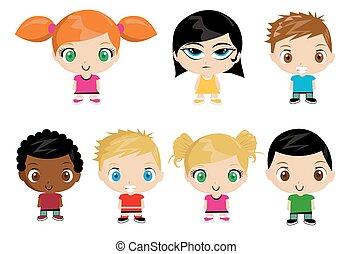 vetorial, grupo, ilustração, crianças