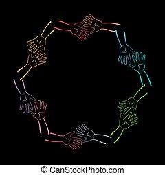 vetorial, grupo, junto., ilustração, mãos
