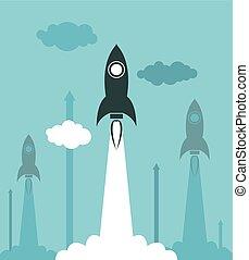 vetorial, grupo, lançamento foguete