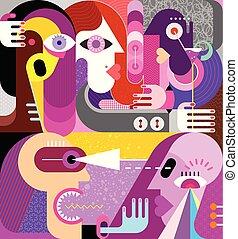 vetorial, grupo, pessoas, artwork