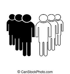 vetorial, grupo, pessoas