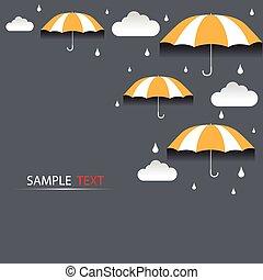 vetorial, guarda-chuva, chuva, fundo