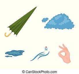 vetorial, guarda-chuva, ground., jogo, norte, ícones, poça, vento, web., estilo, cobrança, caricatura, tempo, ilustração, nuvem, símbolo, estoque