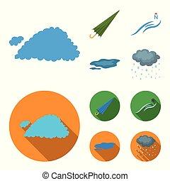 vetorial, guarda-chuva, ground., jogo, norte, ícones, poça, vento, web., estilo, cobrança, tempo, ilustração, caricatura, nuvem, símbolo, estoque