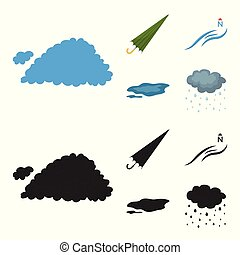 vetorial, guarda-chuva, ground., jogo, norte, caricatura, vento, poça, ícones, web., estilo, cobrança, tempo, ilustração, nuvem, símbolo, estoque