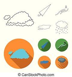 vetorial, guarda-chuva, ground., jogo, norte, esboço, vento, poça, ícones, web., estilo, ilustração, tempo, cobrança, nuvem, símbolo, estoque