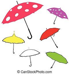 vetorial, guarda-chuva