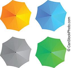 vetorial, guarda-chuvas