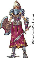vetorial, guerreira, mulher, cabelo vermelho