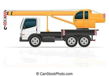 vetorial, guindaste, construção, caminhão, ilustração