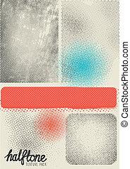 vetorial, halftone, textura, pacote