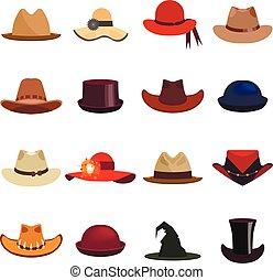 vetorial, hats., mulher, jogo, homem