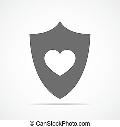 vetorial, heart., escudo, illustration.