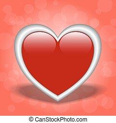 vetorial, heart., vermelho, ilustração