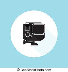 vetorial, herói, pró, ilustração, gopro, câmera, desenho,...