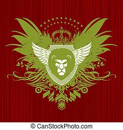 vetorial, heraldic, emblema, com, leão, cabeça
