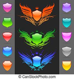 vetorial, heraldic, jogo, lustroso, escudos