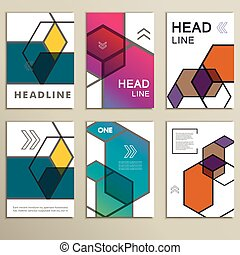 vetorial, hexágono, infographics, set., 6, modelo, para, diagrama, e, apresentação