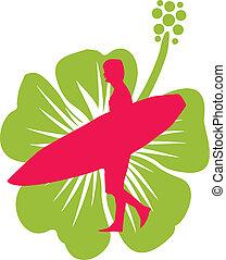 vetorial, hibiscuse, flor, arte, surfista