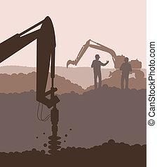 vetorial, hidráulico, máquina, equipamento, maquinaria construção, fundo, perfurar