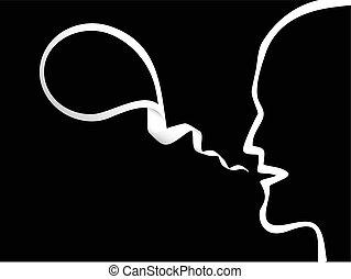 vetorial, homem, borbulho fala
