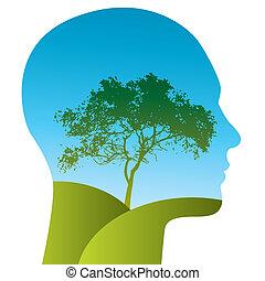 vetorial, homem, com, um, árvore