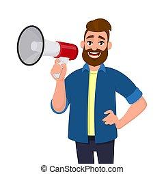 vetorial, homem, hip., anunciar, megaphone/loudspeaker, mão, shouting, enquanto, conceito, ilustração, segurando, caricatura, megafone, style., algo