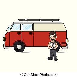 vetorial, homem, reparar, ilustração, car