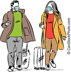 vetorial, homem, viagem, par, ilustração, conceito, mulher