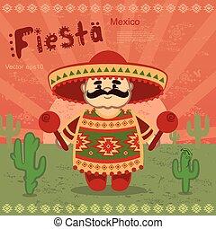 vetorial, homens, mexicano, retro, fundo