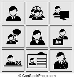 vetorial, human, ícones, -, comunidade, homem negócios, social, rede