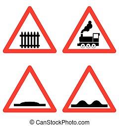 vetorial, hump, à frente, jogo, nível, símbolos, fundo, tráfego, sinais estrada, cruzamento, estrada ferro, áspero, velocidade, branca, triangle., vermelho