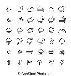 vetorial, illustration., ícones, cobrança, experiência., tempo, linha, branca