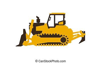 vetorial, illustration., bulldozer., lustroso, machinery., construção, style., ícone