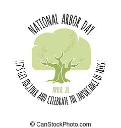 vetorial, illustration., carvalho, árvore, árvore., icon., dia