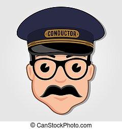 vetorial, illustration., condutor, glasses., rosto, trem, caricatura