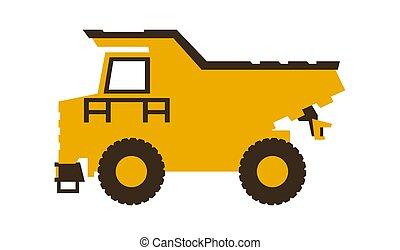 vetorial, illustration., entulho, lustroso, machinery., construção, truck., style., ícone