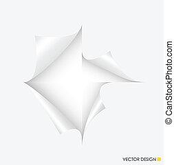 vetorial, illustration., espaço, rasgado, text., papel