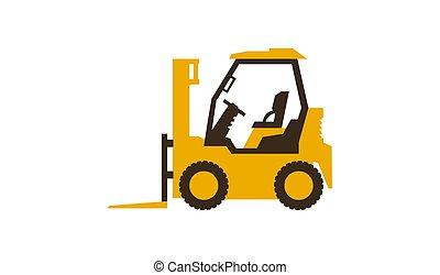 vetorial, illustration., forklift, lustroso, machinery., construção, truck., style., ícone