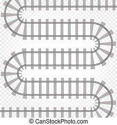 vetorial, illustration., isolated., pista, trilho, enrolamento, trem, caminho, estrada ferro, ferrovia, road.
