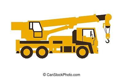 vetorial, illustration., lustroso, machinery., construção, caminhão, crane., style., ícone