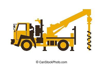 vetorial, illustration., lustroso, machinery., construção, perfurar, truck., style., ícone