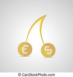 vetorial, illustration., moedas, dólar, berries., cerejas, instead, euro