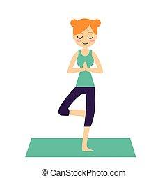 vetorial, illustration., mulher, prática, yoga.