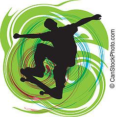 vetorial, illustration., patinador