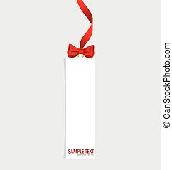vetorial, illustration., presente, arcos, ribbons., cartões, vermelho
