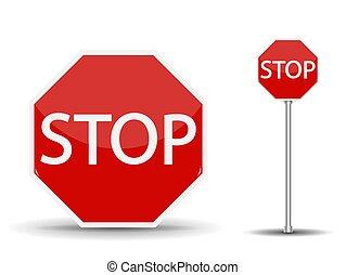 vetorial, illustration., sinal, stop., estrada vermelha